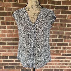 Ann Taylor animal print short sleeve blouse